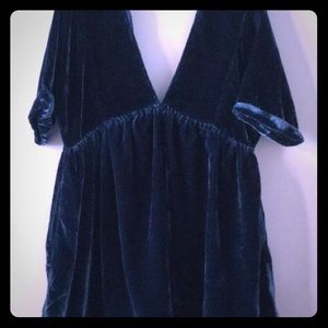 Free People turquoise velvet dress.
